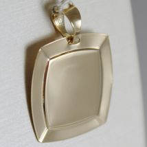 18K YELLOW GOLD SQUARE PENDANT MEDAL CUSTODIAN ANGEL ENGRAVABLE, MADE IN ITALY image 3