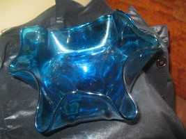 CARIBBEAN  BLUE  DEPRESSION GLASS 3 FOLD  8 IN ... - $14.84