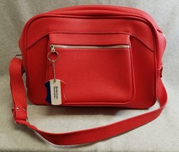 "Vintage Red American Tourister Soft Carry On Luggage Overnight Bag Tote 16"" - $28.05"
