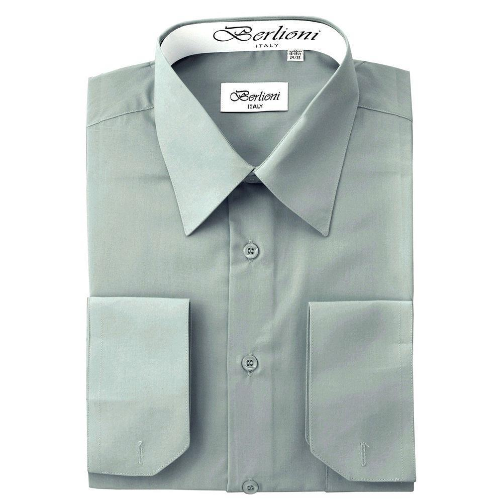 BERLIONI ITALY MEN'S FRENCH CONVERTIBLE CUFF SOLID DRESS SHIRT LIGHT GREY