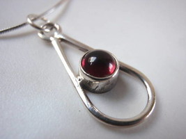 Red Garnet Sphere in Hoop 925 Silver Necklace Corona Sun Jewelry - $17.81