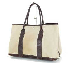 Auth Vintage HERMES Toile H Beige and Brown Garden Party Tote Bag Purse #15604 - $399.00