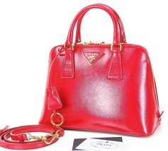 Authentic PRADA Red Leather Tote Hand Bag Purse #25266 - $1,790.00