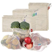 Cotton Mesh Bags Reusable Produce Bags Esonmus 8pcs/set Shopping Bag Dra... - $22.37