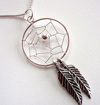 Dream Catcher Necklace with Double Sacred Feathers Sterling Silver Corona Sun - $38.60