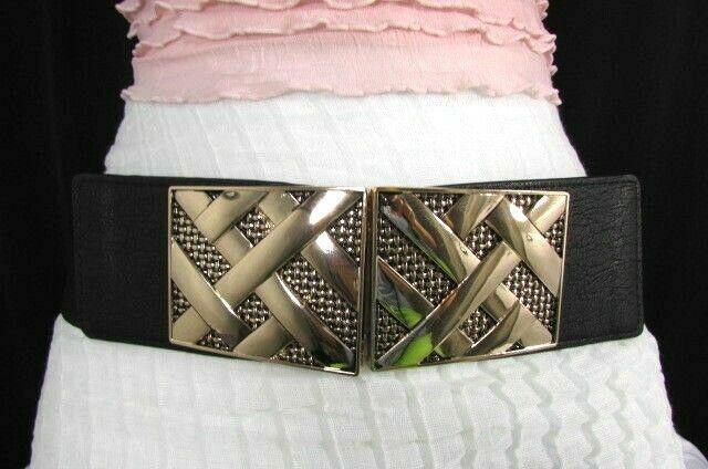 Nero,da Donna Elastico Moda Cintura Vita Metallo Oro Strisce Fibbia Quadrata S M