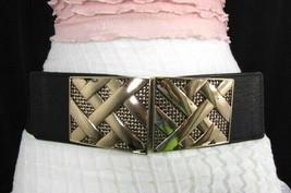 Nero,da Donna Elastico Moda Cintura Vita Metallo Oro Strisce Fibbia Quadrata S M image 1