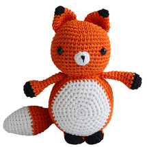 Orange Adorable Mister Fox Handmade Amigurumi Stuffed Toy Knit Crochet D... - $18.71