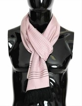 Dolce & Gabbana Mens Pink Polka Dotted 100% Silk Tassel Wrap Scarf 180cm... - $187.11