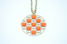 Orange Acrylic Cabochon Large Medallion Mod Abstract Gold Tone Necklace ... - $24.74