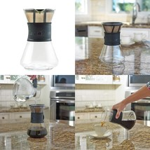 Cafe Brew Pour Over Coffee Maker With Permanent Bpa Free #4 Coffee Filte... - $28.38