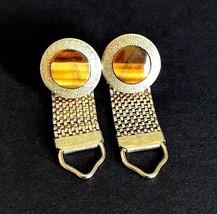 Vintage 1960s Cufflinks Round Tigers Eye Modernist Gold Tone Wrap Around... - $15.88