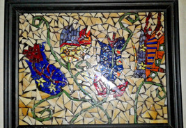Hand Crafted Framed -Stained Glass Mosaic Wall ... - $37.04