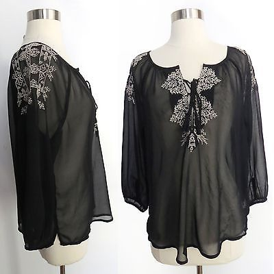 Primary image for American Eagle Outfitters sz SMALL black white embroidery sheer boho blouse top