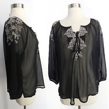 American Eagle Outfitters sz SMALL black white embroidery sheer boho blo... - $19.98