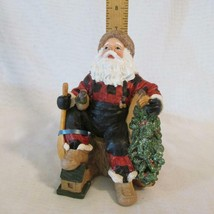 Santa Figurine Sitting Outdoorsman w/ Duck Decoy, Canoe & Oar - Gently D... - $4.27