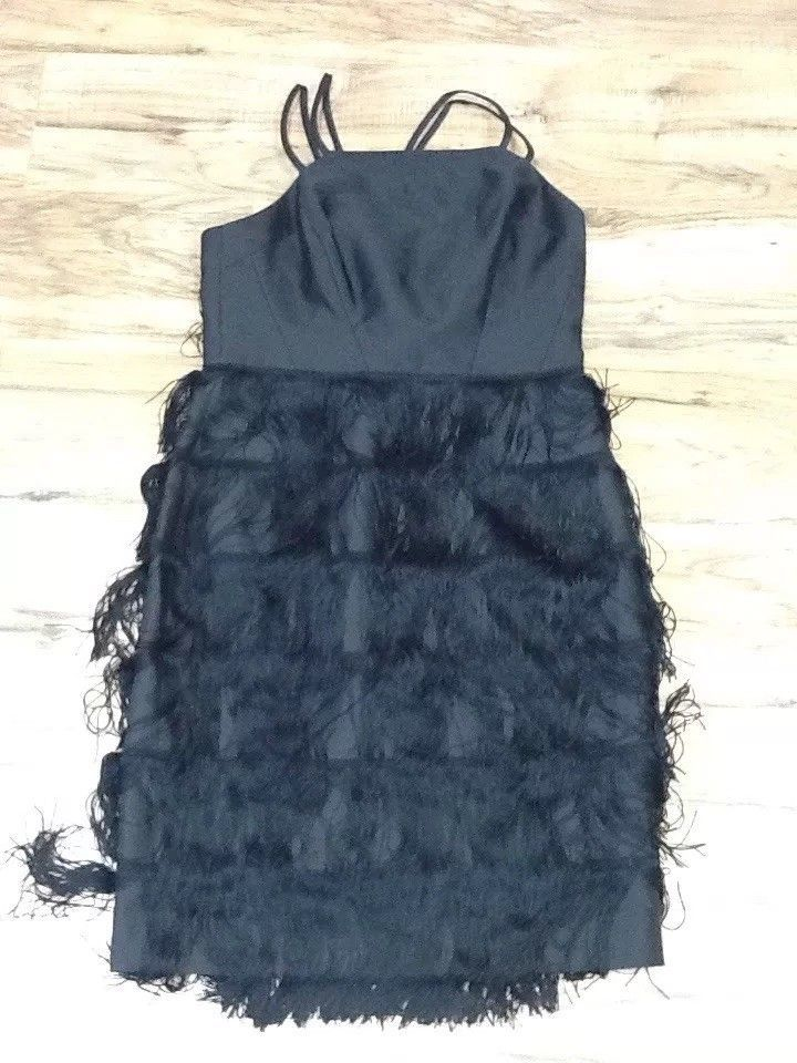 $575 soshanna women midnight vera fringe dress: size 10: black image 3