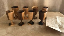 Peterson's Warehouse Danish Modern Wood Wine Glass Goblets Made Ecuador ... - $64.50
