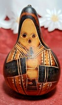 Vintage Peruvian Hand Carved Etched Gourd Peru Folk Art w Flute Flautist