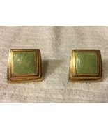 Vtg Green And Gold Clip Earrings - $2.99