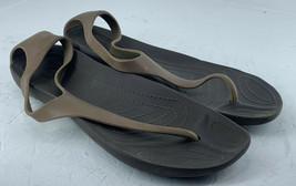 Women's Crocs Sling Back Sexi Flip SZ 7 Brown Flip Flop Sandals J9 - $16.73