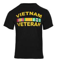 Vietnam Veteran Black T-Shirt Military Army War Viet Nam Ribbon Vet Tee - $11.99+