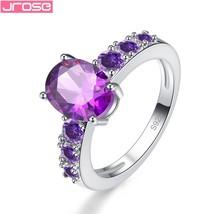 Women Fashion Pretty Lovely Purple Cz Silver Color Ring Size 6 7 8 9 10 ... - $8.28