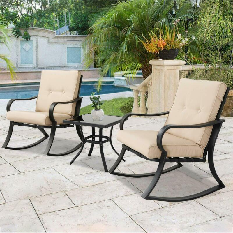 Set of 3 Pcs Outdoor Rocking Chairs Bistro Garden Patio Furniture Modern Decor