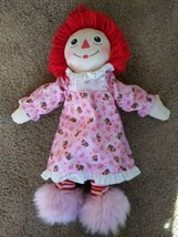 """Bedtime Raggedy Ann Doll Hasbro 18"""" Pink Slippers Nightgown 2002 - $18.50"""