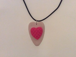 White/pink double heart necklace - $10.00