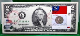 MONEY US $2 DOLLARS 1995 FEDERAL RESERVE NOTE  COIN AND FLAG MYANMAR GEM... - $59.40