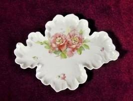 Candy Dish  Antique Leaf Shape China  Roses Scalloped Edges 10 1/2  - $44.55