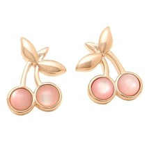 NWT COACH Pink Cherry Stud Plated Brass Earrings in Rose gold tone F33369 - $39.59