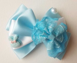 "NEW ""Blue White Butterfly Satin Bow & Cute Bunny"" Hairclip Hair Accessories - $8.45"