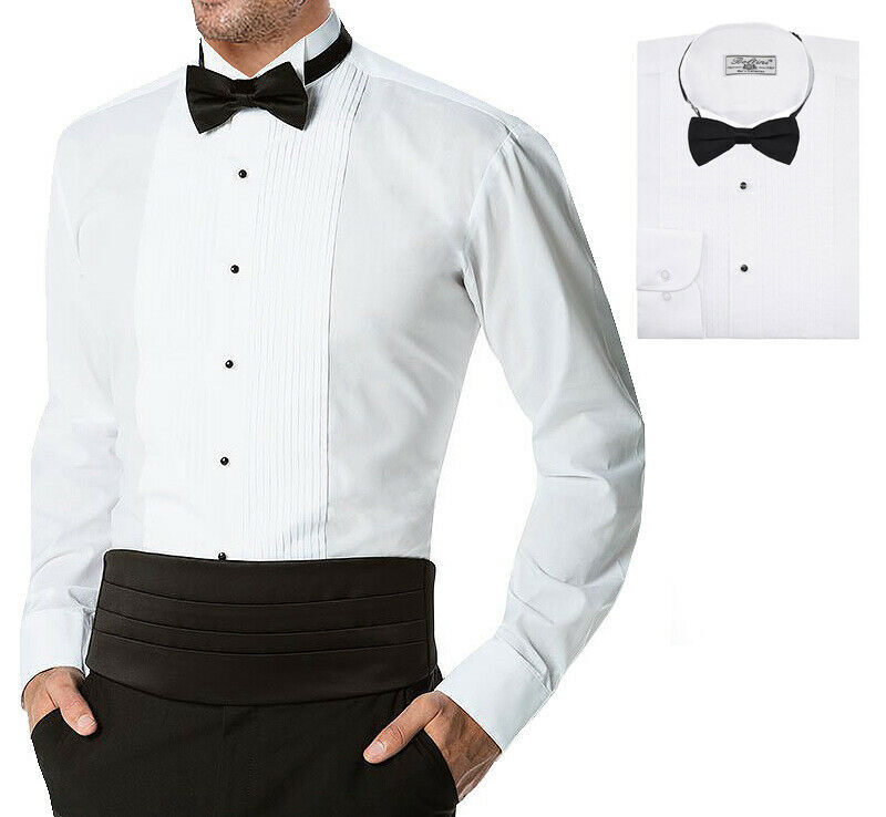 Boltini Italy Men's Premium Tuxedo Wingtip Collar Dress Shirt with Bow Tie