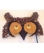 OWL Mask Costume Real Feathers Handle Masquerade Wall Hanging Wood Glitter  - $12.88
