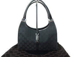 Authentic GUCCI GG Pattern JACKIE Canvas, Leather Black Shoulder Bag GS1... - $189.00