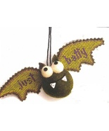 Green Bat Kit Crazy halloween ornament cross stitch kit  Val's Stuff    - $16.20
