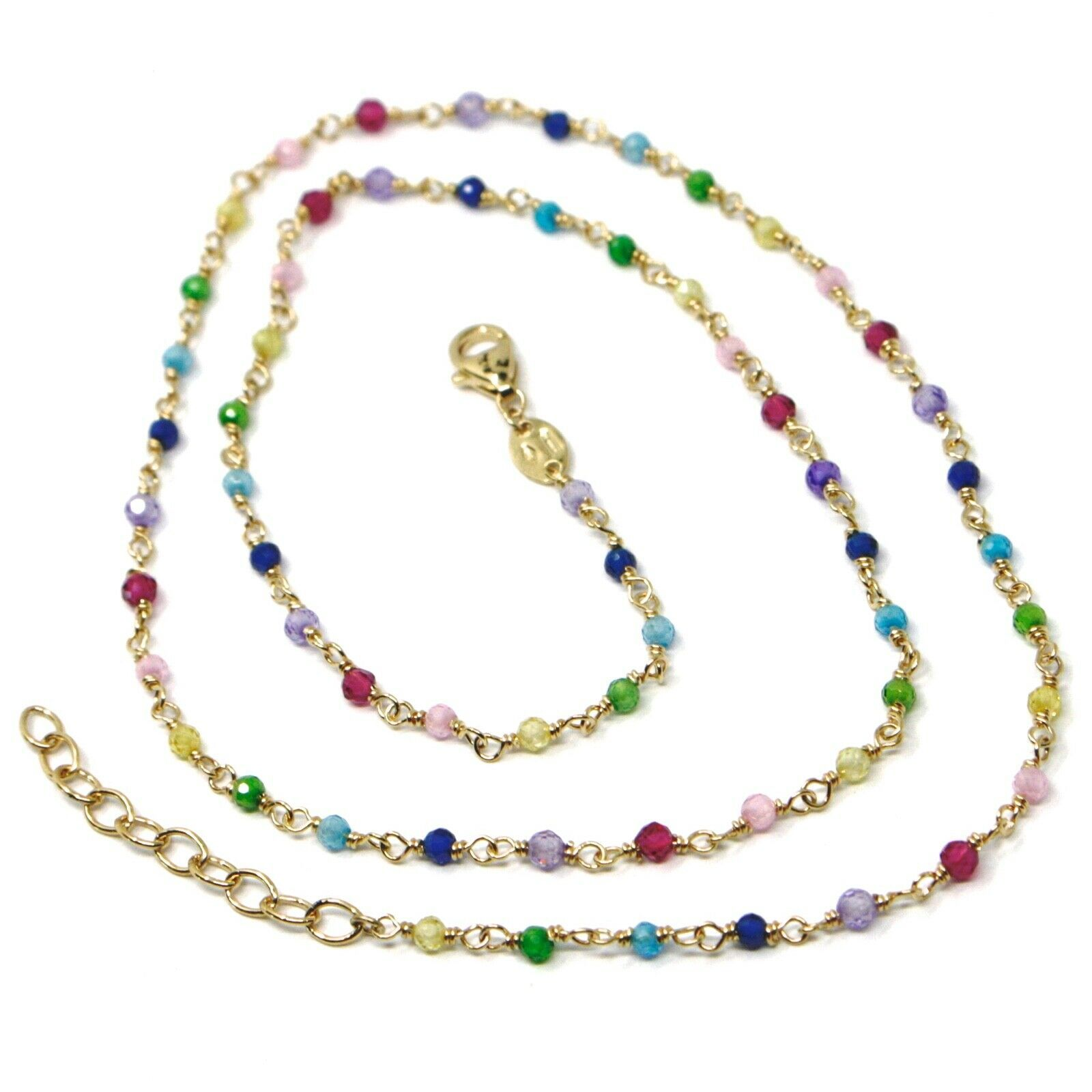 """18K YELLOW GOLD NECKLACE, MULTI COLOR FACETED CUBIC ZIRCONIA, CHAIN, 17"""""""