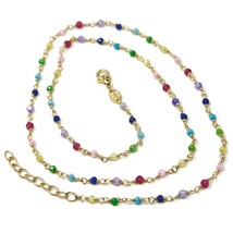 """18K YELLOW GOLD NECKLACE, MULTI COLOR FACETED CUBIC ZIRCONIA, CHAIN, 17"""" image 1"""