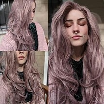 Fantasy Beauty Ash Pink Lace Front Wigs Long Wave Synthetic Lace Wig Hair Replac