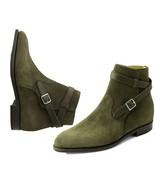 Handmade Men Hunter green Suede Jodhpurs boots, Men ankle boots, Men cas... - $179.99