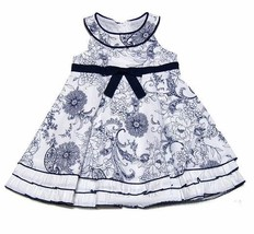 Biscotti Baby Girls Navy Blue Size 24 Months Sleeveless Floral Party Dre... - $44.88