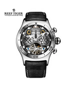 Reef Tiger/RT Mens Sport Watch Big Skeleton Self-Wind Luminous Tourbillo... - $261.99