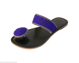 Women Slippers Indian Handmade Traditional Leather Flip Flops US 6/7 - $24.99