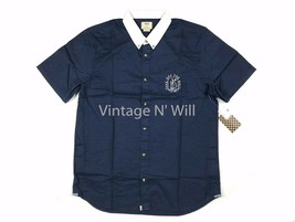 Vans off the Wall Mens L Navy/ White Collar Sea Cruiser Nautical Pocket Shirt - $33.24