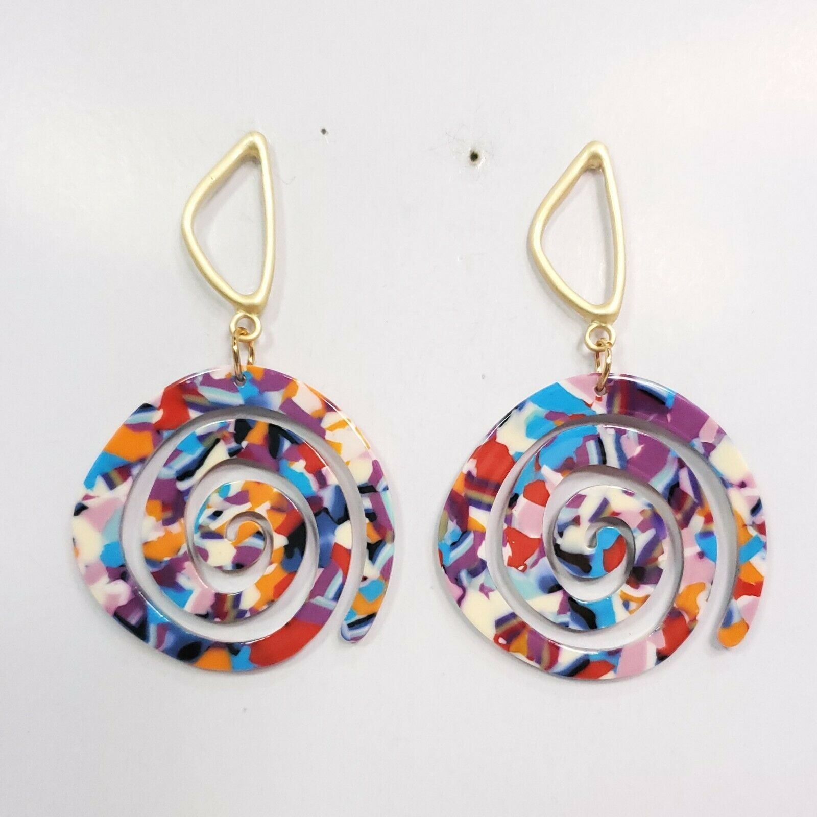 Primary image for E0270 Multi Color Acrylic Circle Spiral Design Drop Dangle Fashion Post Earrings