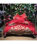 Festive Red Embroidery Cotton Duvet Set 6/9Pcs King/Queen Bedding CB-No.... - $269.95+