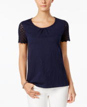 Charter Club Petite Cotton Crochet-Sleeve Top in Intrepid Blue, size PP - $19.79