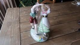 Vintage ERETENIA Porcelain Boy Girl Dancing Figures 10 x 6.5 inches - $49.49